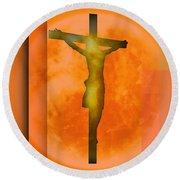 Redish Environmet Crucifixion, Round Beach Towel by Alberto RuiZ