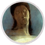 Redon: Closed Eyes, 1890 Round Beach Towel