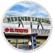 Redondo Beach Pier Closeup Round Beach Towel