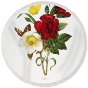 Redoute: Hellebore, 1833 Round Beach Towel