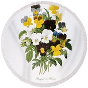 Redoute: Pansy, 1833 Round Beach Towel