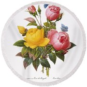 Redoute: Roses, 1833 Round Beach Towel