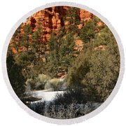 Redrock Winter Round Beach Towel