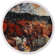 Redu Village Belgium Round Beach Towel