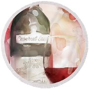 Redwinewatercolor Round Beach Towel