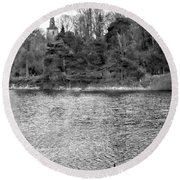 Reeds And Religion Black And White Round Beach Towel