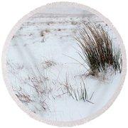 Reeds And Snow Round Beach Towel