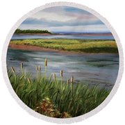 Reeds By The Water Round Beach Towel
