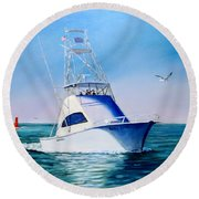 Reel Lady Round Beach Towel