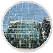 Reflected Buildings Round Beach Towel