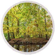 Reflected Color Of Autumn Round Beach Towel