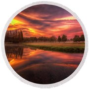 Reflected Reality Round Beach Towel