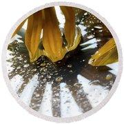 Reflected Yellow Petals Round Beach Towel