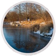 Reflecting In Threes - Three Trees By The Lake Round Beach Towel