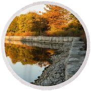 Reflecting On Autumn - Gray Rocks Highlighting The Foliage Brilliance Round Beach Towel
