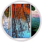 Reflecting On Autumn - Triptych Round Beach Towel