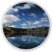 Reflecting On Crater Lake Round Beach Towel