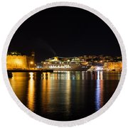 Reflecting On Malta - Cruising Out Of Valletta Grand Harbour Round Beach Towel