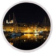 Reflecting On Malta - Senglea Golden Night Magic Round Beach Towel