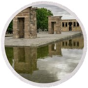 Reflecting On Millennia - Egyptian Temple Of Debod In Madrid Spain  Round Beach Towel