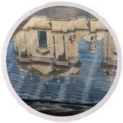 Reflecting On Noto Cathedral Saint Nicholas Of Myra - Sicily Italy Round Beach Towel
