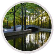 Reflecting Pool Roosevelt Park Round Beach Towel