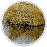 Reflecting Reeds Round Beach Towel
