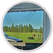 Reflecting The Country Round Beach Towel