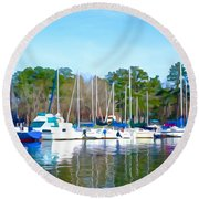 Reflecting The Masts - Watercolor Style Round Beach Towel