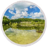 Reflecting Tranquility Round Beach Towel