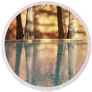 Reflecting Trees Round Beach Towel