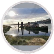 Reflecting With Mary Round Beach Towel