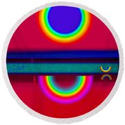 Reflectins On A Sunset Round Beach Towel