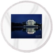 Reflection At Blue Hour Round Beach Towel