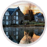 Reflection At Wagner Mill Round Beach Towel