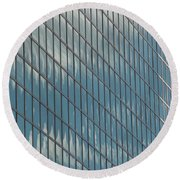 Reflection Clouds On Building Round Beach Towel