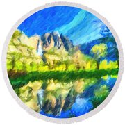 Reflection In Merced River Of Yosemite Waterfalls Round Beach Towel