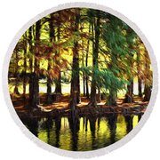 Reflection In Paint Round Beach Towel
