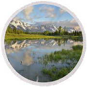 Reflection In Snake River At Grand Teton Round Beach Towel
