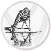 A Tall Drink Of Water Round Beach Towel