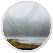Reflection Lake Mist Round Beach Towel