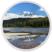 Reflection Lakes In Mount Rainier National Park Round Beach Towel