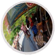 Reflection Of A Merry Go Round Round Beach Towel