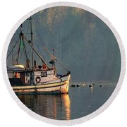 Reflections Of A Nautical Timepiece Round Beach Towel