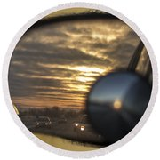 Reflection Of A Sunset Round Beach Towel