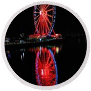 Reflection Of A Wheel Round Beach Towel