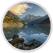 Reflection Of Aoraki Round Beach Towel
