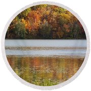 Reflection Of Autumn Colors In A Lake Round Beach Towel