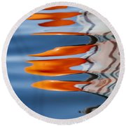 Water Reflection Of Orange Blobs And Black Zig Zagging Lines Round Beach Towel
