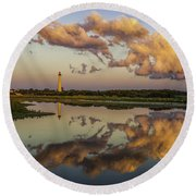 Reflection Of Clouds And Lighthouse Round Beach Towel